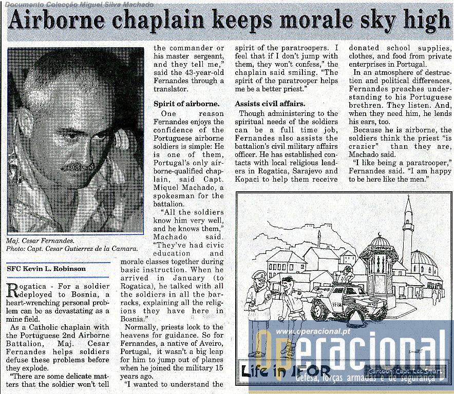 O último artigo dedicado aos portugueses neste primeiro semestre, alusivo ao Capelão Pára-quedista César Fernandes.