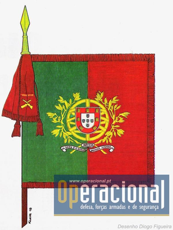 No Exército a Bandeira Nacional, sob a forma de estandarte nacional, é quadrada, partida e cosida em proporções iguais (Decreto n.º 43/79 de 22 de Maio)