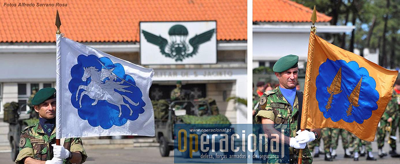 Os Estandartes Heráldicos do Regimento de Infantaria n.º 10 e do 2.º Batalhão de Infantaria Pára-quedista.