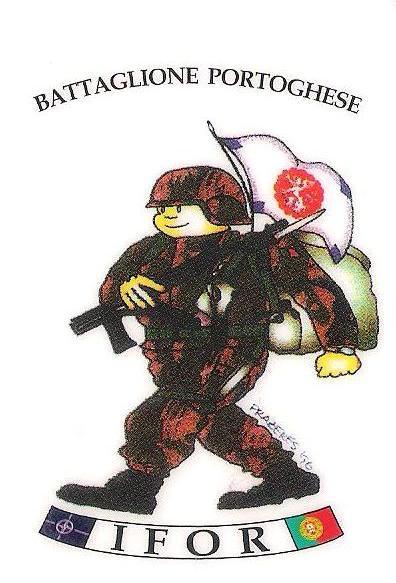 Logo criado para o 2BIAT em 1996, no momento da 1.ª missão na Bósnia e Herzegovina. Neste caso estava inserido em cartões telefónicos (autor: José Prazeres / SIPRP/Exército Português)