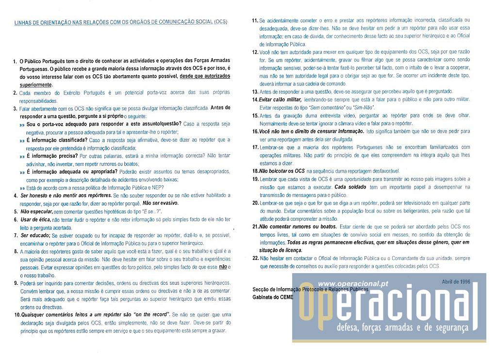 Linhas orientação OCS 1996