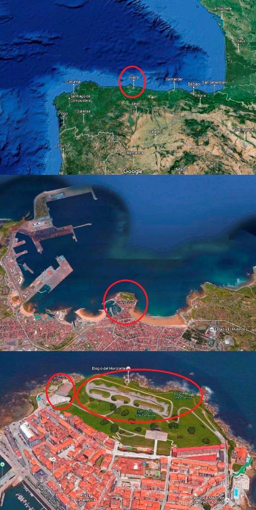 "O a bateria de cima no «Cerro de Santa Catalina"" domina toda a baía de Gijón e o porto mineiro da cidade."