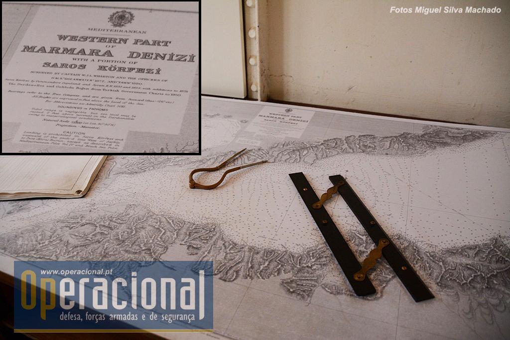 """Dentro da """"ponte de comando"""" , mapas originais da campanha dos Dardanelos."""