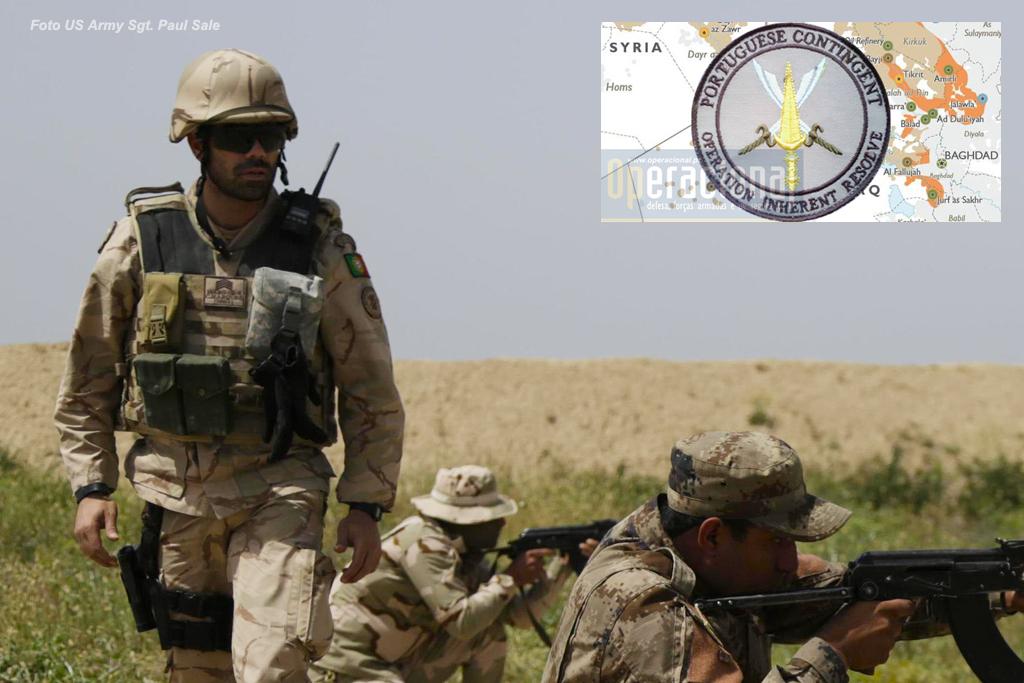 Sargento português, empenhado na Operação Inherent Resolve, supervisiona uma sessão de tiro no Besmayah Range Complex