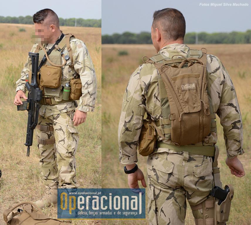 O equipamento individual que o GIOE usa para este tipo de missões: o militar está armado com a HK G36 5,56mm.