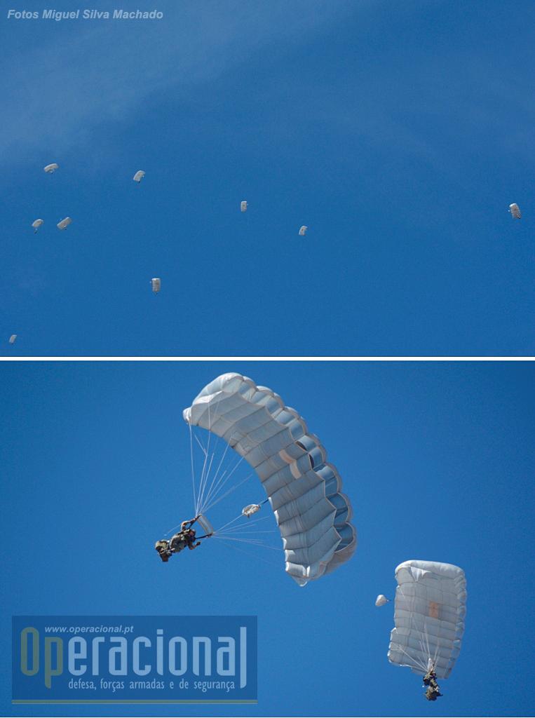 Destacamento de Saltadores Operacionais de Grande Altitude, da Companhia de Precursores Aeroterrestres do Batalhão Operacional Aeroterrestre (BOAT) infiltrados através de salto de abertura manual (queda-livre) a partir de um C-295M da Esquadra 502 / Base Aérea n.º 6, voando a 9.000m de altitude, para simular o assalto a um aeródromo