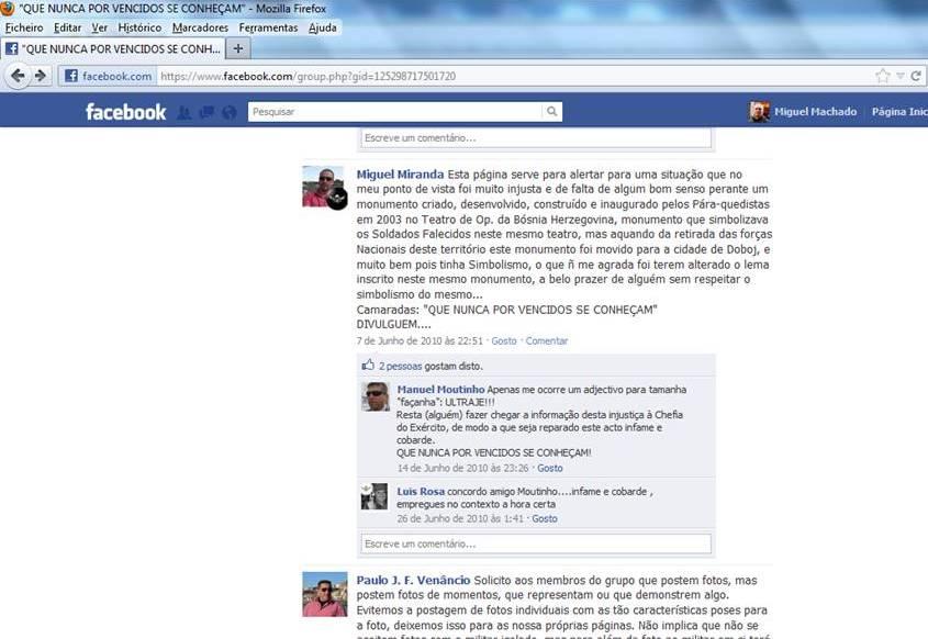 O assunto só foi conhecido para muitos veteranos da Bósnia através do Facebook em 2010.