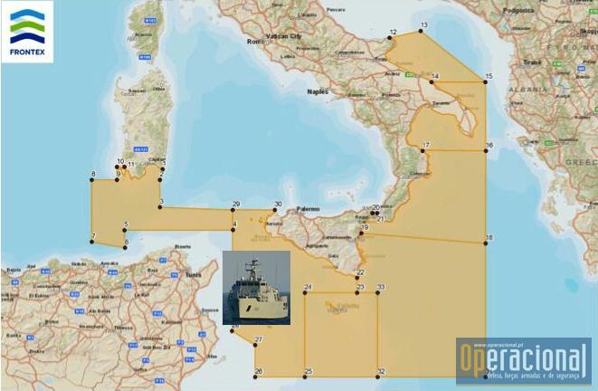 """A Área de Operações do Mediterrâneo Central e o """"sector"""" onde o NRP Figueira da Foz tem cumprido a sua missão."""