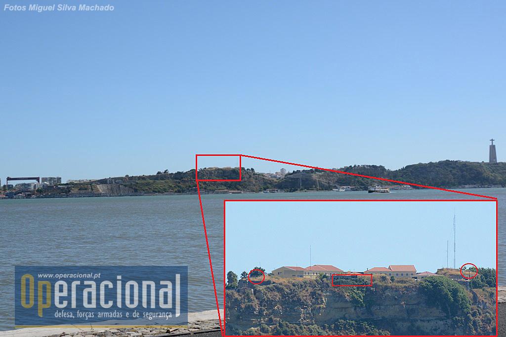 O Forte de Almada visto de Lisboa, da margem direita do Tejo.